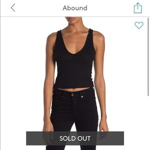 Abound Double V-Neck Ribbed Crop Tank Top